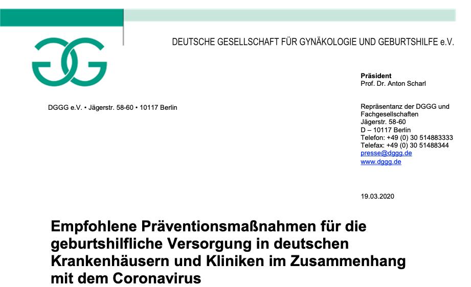 DGGG e.V.: Empfohlene Präventionsmaßnahmen für die geburtshilfliche Versorgung in deutschen Krankenhäusern und Kliniken im Zusammenhang mit dem Coronavirus