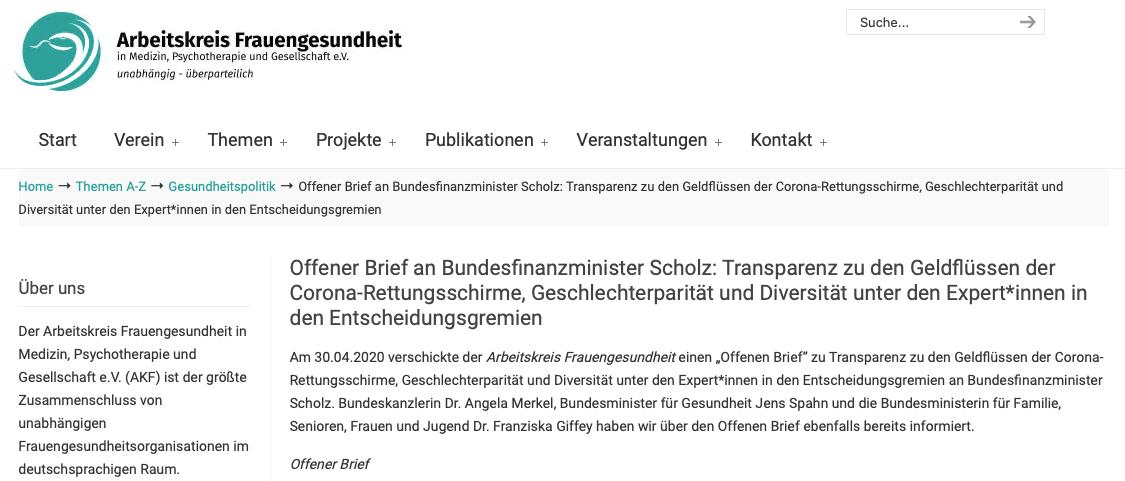 Offener Brief des Arbeitskreis Frauengesundheit (AKF) e.V. an Bundesfinanzminister Scholz